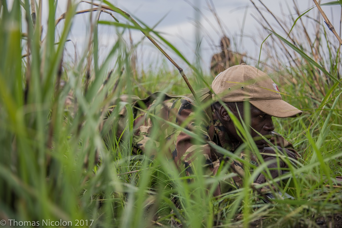 A park ranger on patrol in Garamba National Park in DRC. Photo by Thomas Nicolon for Mongabay.