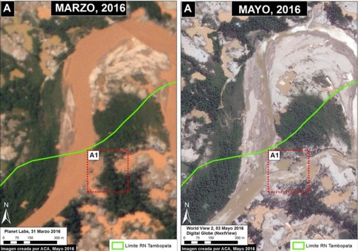 Illegal mining activity alters the course of the Malinowski River, Tambopata National Reserve. Data: Planet Labs, Digital Globe (Nextview)