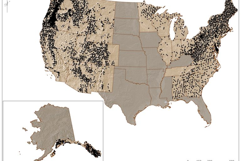 A map from the U.S. Forest Service's forthcoming lichen atlas shows the range of one lichen species, Lobaria pulmonaria aka lungwort, across the United States. Map courtesy of the U.S. Forest Service.