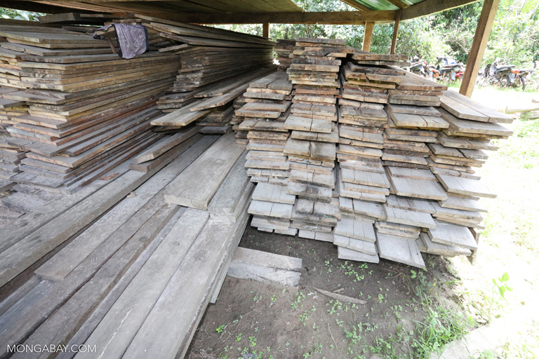 Confiscated timber at a ranger station in Cambodia. Photo by Rhett A. Butler.