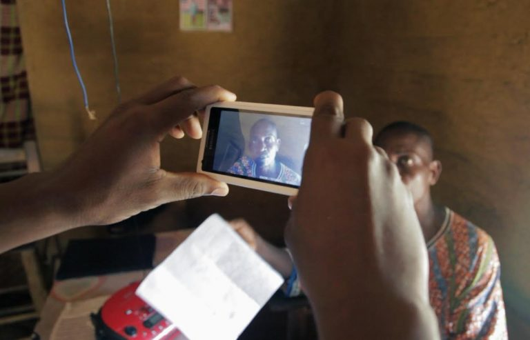A video of the Jogbhan Clan chief is recorded using the TIMBY phone application in Grand Bassa, Liberia