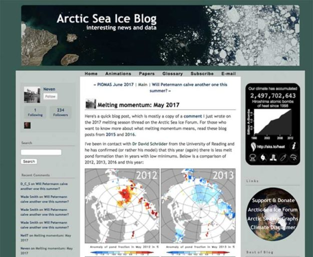 A screenshot from Neven's Arctic Sea Ice Blog in May 2017 at the start of this year's melt season. The site has attracted some 1,250 enthusiasts who gather on the web to watch the Arctic icecap melt away each summer. Image courtesy of the Arctic Ice Blog