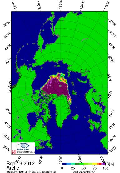The record to beat. The 2012 September minimum was the lowest since Arctic record keeping began. Scientists theorize that the loss of summer ice, and the opening up of the Arctic Ocean which absorbs more solar energy, is continuing to warm the Far North at an alarming and escalating rate. Image courtesy of University of Bremen