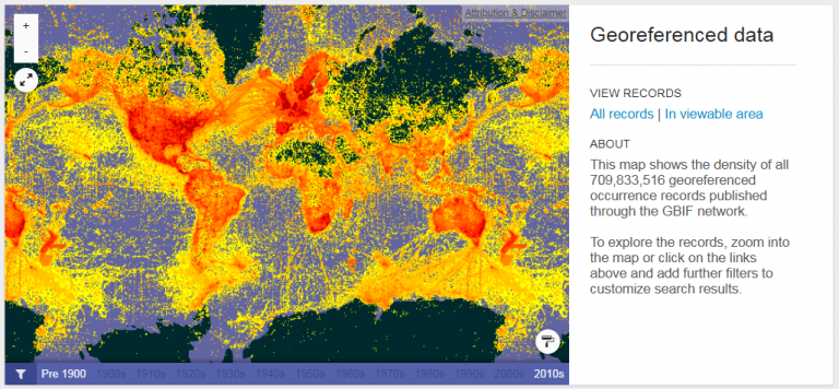 Distribution of the GBIF's 710 million georeferenced species occurrence locations