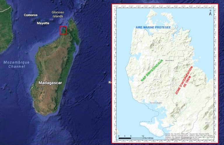 Maps show Madagascar's Ampasindava Peninsula, with its marine protected area (blue writing), terrestrial protected area (green writing), and TREM rare earth mining concession (red writing). Background map courtesy of Google Maps; Ampasindava Peninsula map by Association Famelona.