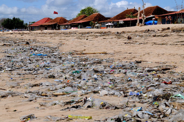 Plastic waste litters a Balinese beach. Photo by John Rawlinson via Flickr.