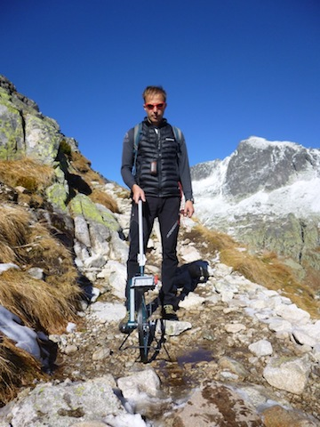 Juraj Svajda measuring erosion of trails in High Tatras National Park in Slovakia. Photo courtesy of Juraj Svajda.
