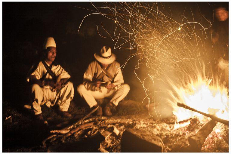 Mamo Lorenzo with shaman Pachankachay in the Talking Circle (left to right). Valle de Saquenzipa, 2014. Photo courtesy of Cuvan Murillo Escobar