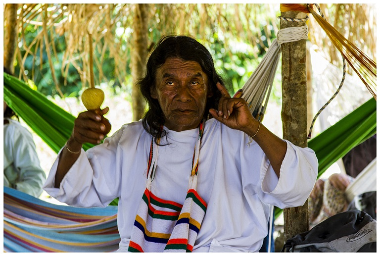 Shaman Hade Ramón Gil in the Talking Circle. Sierra Nevada de Santa Marta, 2014. Photo courtesy of Cuvan Murillo Escobar