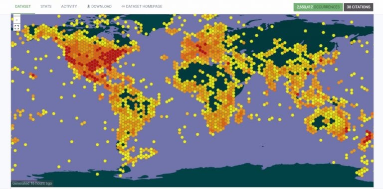 Map of the distribution of over 2.5 million research-grade iNaturalist observations in the Global Biodiversity Information Facility open database.