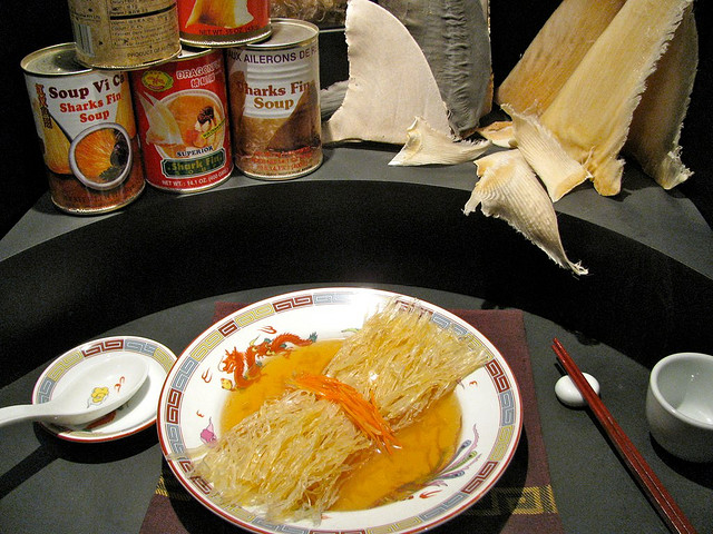 Display of shark fin soup and other shark products