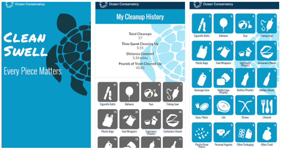Sample screens of the Clean Swell app show categories of trash and amounts collected of each by an active volunteer.