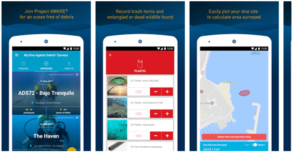 Sample screens of the Dive Against Debris app show survey sites, data entry for plastic trash, and mapping the survey site. The app also requests the number of volunteers assisting to estimate the effort expended to find the trash.
