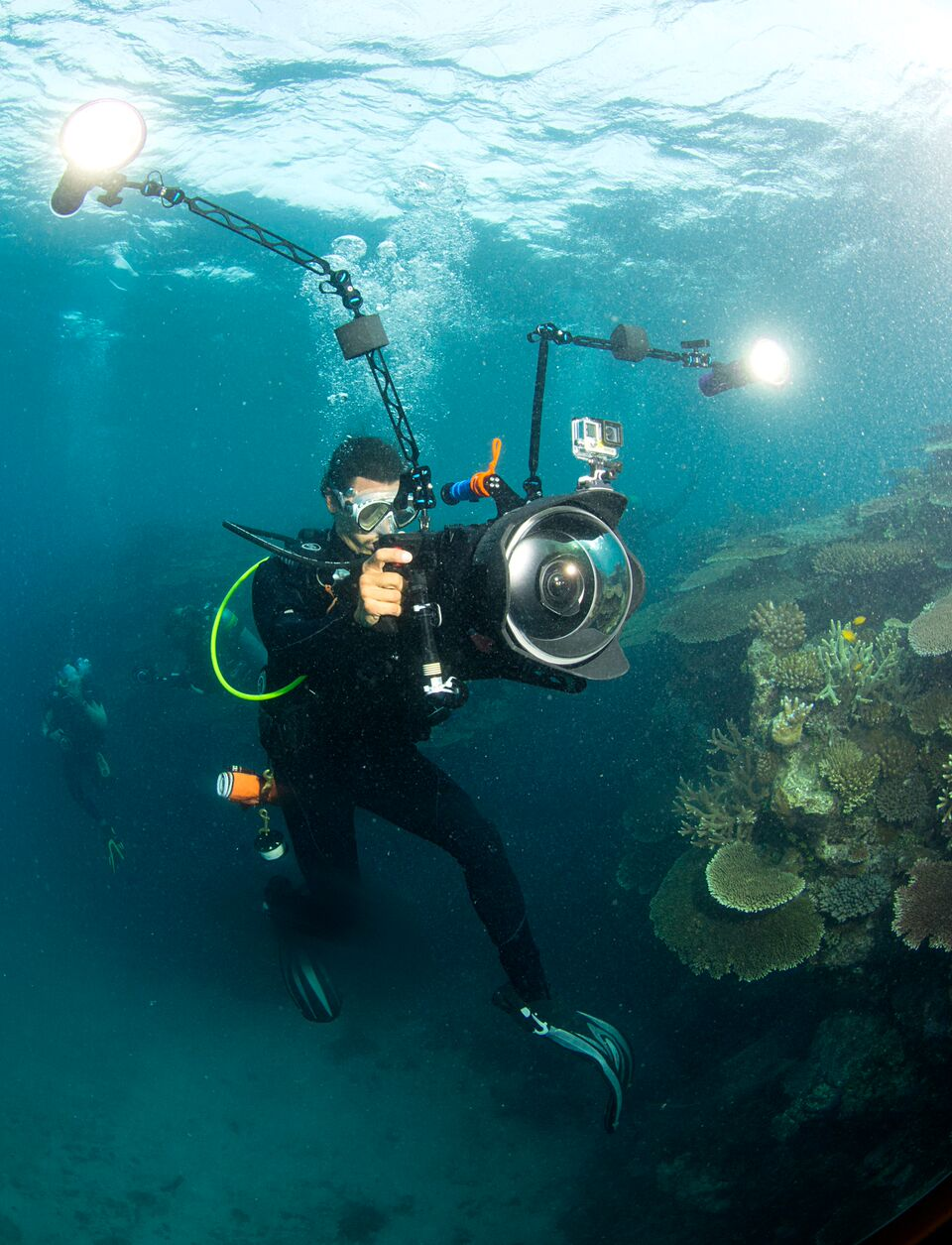 Director Jeff Orlowski filming on the Great Barrier Reef.