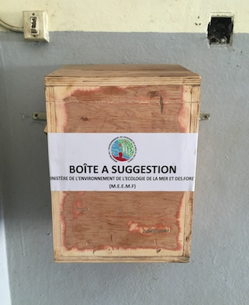 The suggestion box in the Antananarivo headquarters of Madagascar's environment ministry. Photo by Rowan Moore Gerety for Mongabay.