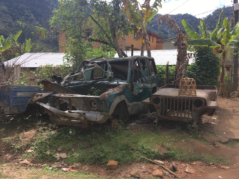 "These are the vehicles available to the gendarmes, or police, working in Ranomafana National Park. ""When someone attacks even five kilometers away, we have to hitchhike to get to the incident,"" the local police commander said. Photo by Rowan Moore Gerety for Mongabay."