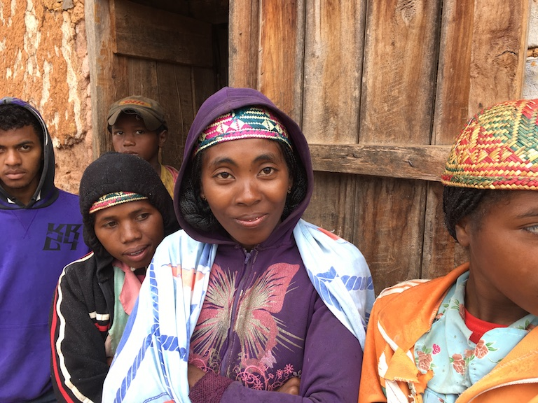 Maria Adeline Hantamalala, center, said losing their livestock to thieves pushed her husband and several other men in the settlement of Ankialo to leave home to work several hours away for part of the year. Photo by Rowan Moore Gerety for Mongabay.