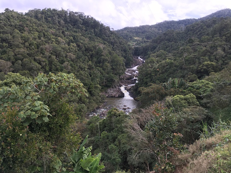 A view of the Ranomafana river from the road that passes through the national park. Photo by Rowan Moore Gerety for Mongabay.