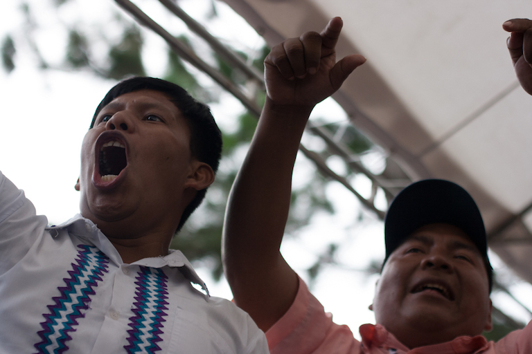 Toribio García (right), at a protest over the Barro Blanco dam in August, 2016. García is one of the three Ngäbe-Bugle leaders a Panamanian judge acquitted of wrongdoing on September 20. Photo by Camilo Mejia Giraldo for Mongabay.