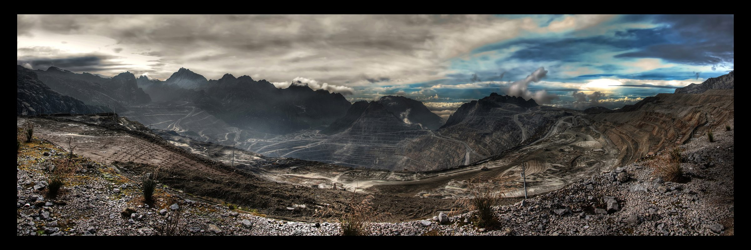 A panorama of the Grasberg gold and copper mine in Papua province, which activists point to as a case study of how extractive projects can go wrong. Credit: Richard Jones/Wikimedia Commons