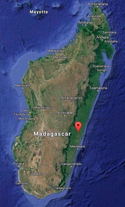 Map shows the location of Vohilava, Madagascar, Raleva's village. Map courtesy of Google Maps.