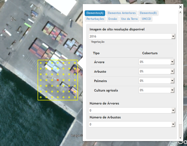 A high-resolution image in Collect Earth with a sampling plot and a data entry form customized for a particular project.