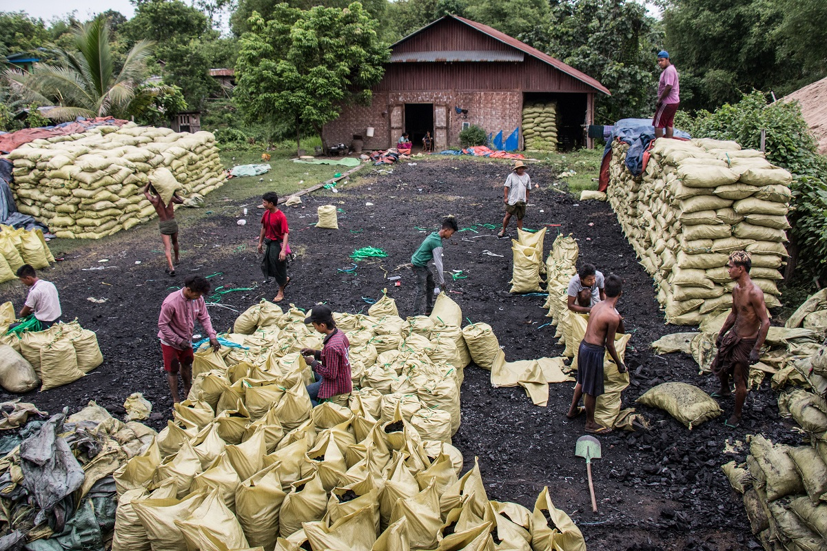 Charcoal bags stored in a lot in Bhamo, Myanmar. Approximately 500 bags are held here, before being loaded onto trucks and sent to China, which is about 50 miles away. Photo by Nathan Siegel for Mongabay.