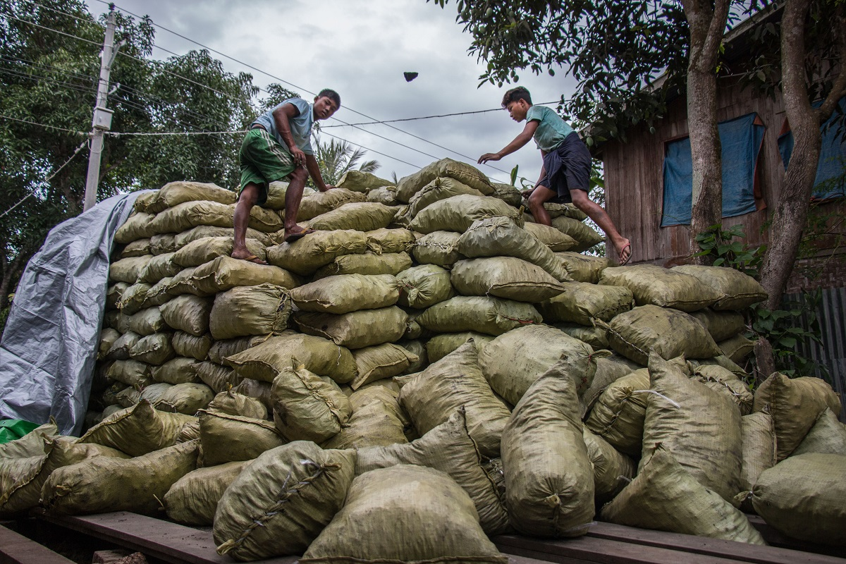 Charcoal bags from Myanmar bound for China. Photo by Nathan Siegel for Mongabay.