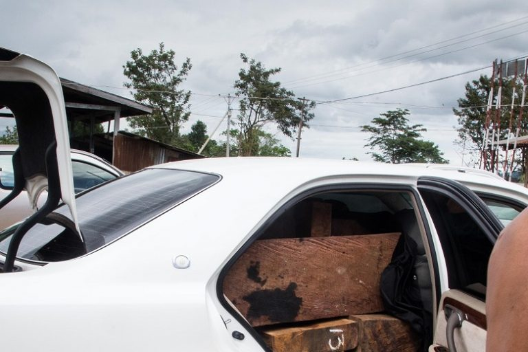 A car of seized rosewood close to Yu Pu check point. The driver have heard rumors have an active check point so left the car at a nearby restaurant and disappeared before the officers arrived. Photo by Ann Wang for Mongabay.
