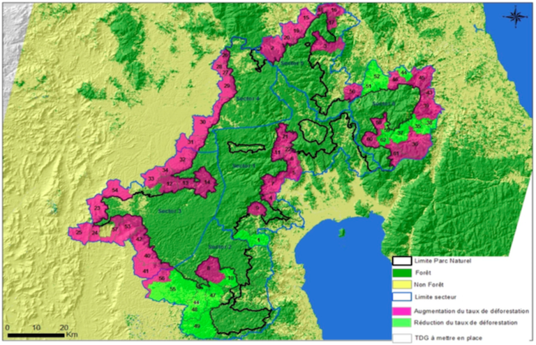 "Map shows the boundaries of Makira Natural Park (black line) and the community forests set up so far in its ""leakage belt."" Pink indicates an increased rate of deforestation over baseline levels as of 2014. Light green indicates a reduced rate of deforestation. Map courtesy of WCS."
