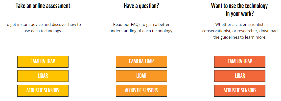 Options for learning about three key data collection techniques--camera trapping, LiDAR, and acoustic monitoring-- on the Conservatioin Technology website.