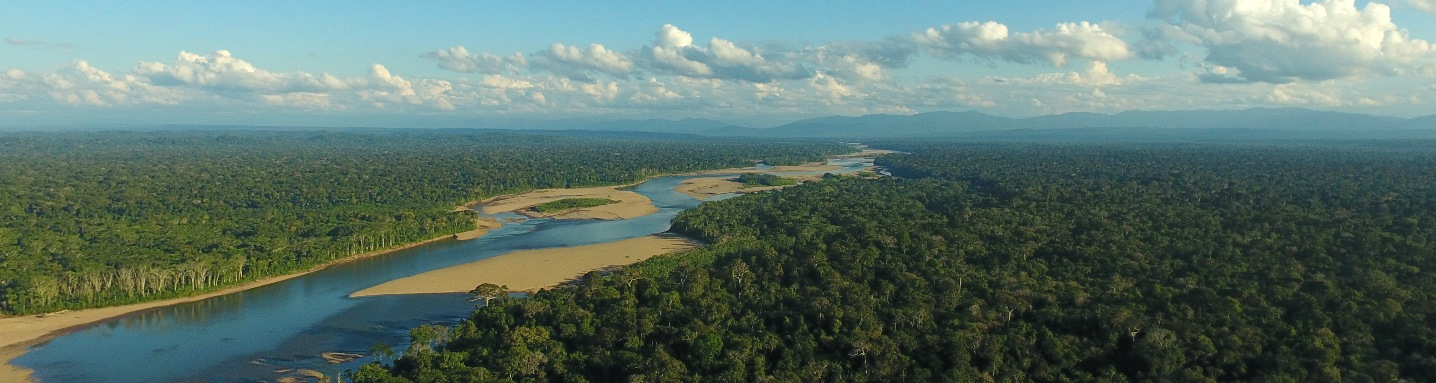 The Amazon rainforest along southeastern Peru's Tambopata River, seen from above.