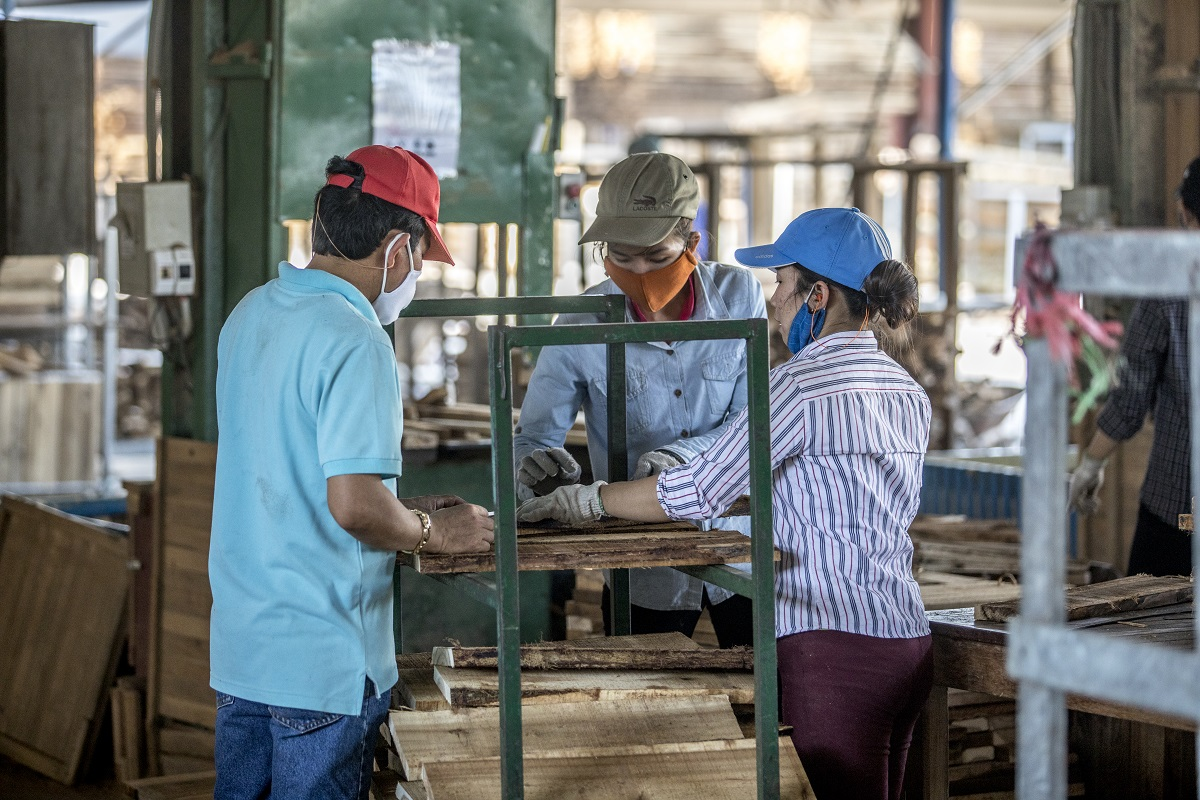 Acacia is processed into parts for garden furniture at Minh An Co., a factory that processes 100% FSC timber and works exclusively with Scansia Pacific Co. - IKEA's timber supplier. Photo by James Morgan/WWF with permission.
