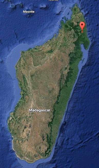 Map shows the location of Marojejy National Park in northeastern Madagascar. Map courtesy of Google Maps.