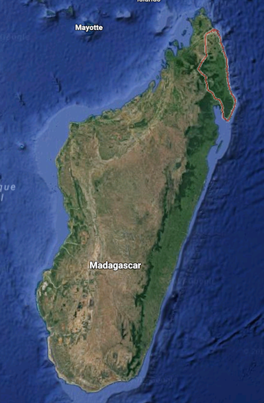 Madagascar, with Sava region outlined in red. Map courtesy of Google Maps.