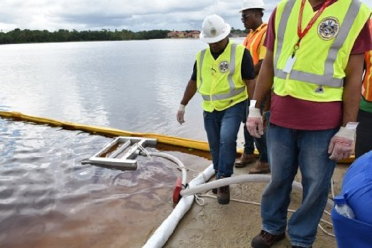 Exxon facilitates oil spill management training. Photo courtesy Guyana Department of Public Information.