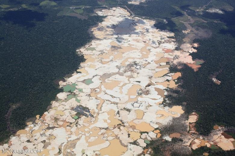 Deforestation from mining in Peru. Photo by Rhett A. Butler.