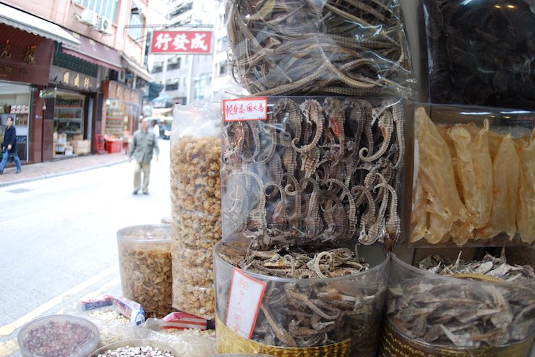 Dried seahorses for sale in Hong Kong. Seahorses are frequently used in traditional medicine. Photo by Tyler Stiem/ Project Seahorse.
