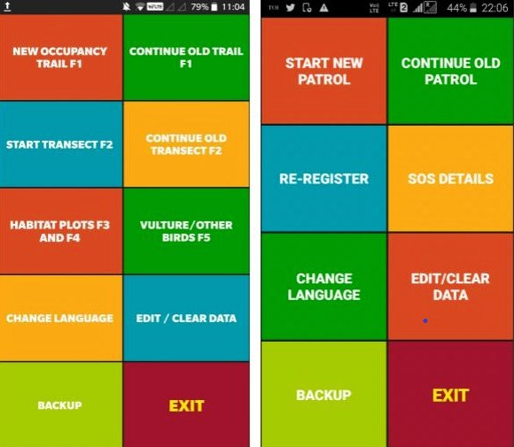 Screenshot of the M-STrIPES app. The ecological module is on the left, and the patrol module on the right. Photo credit: Ashok Kumar