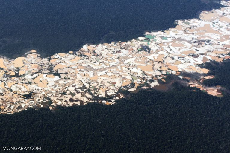 Gold mining is a major threat to the forests and biodiversity of the Peruvian Amazon, including protected areas. Photo by Rhett A. Butler.