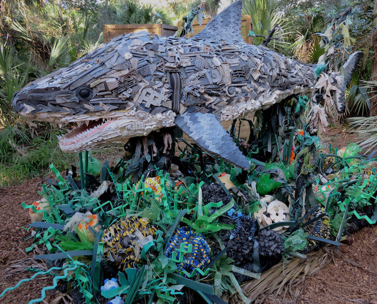 A sculpture made of plastic trash collected from beaches on exhibit at the Smithsonian's National Zoo in Washington, D.C. in 2015. Photo courtesy of Washed Ashore: Art to Save the Sea / Smithsonian's National Zoo via Flickr (CC BY-NC-ND 2.0).