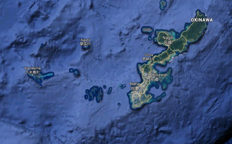 Okinawa, Japan. Image courtesy of Google Maps.