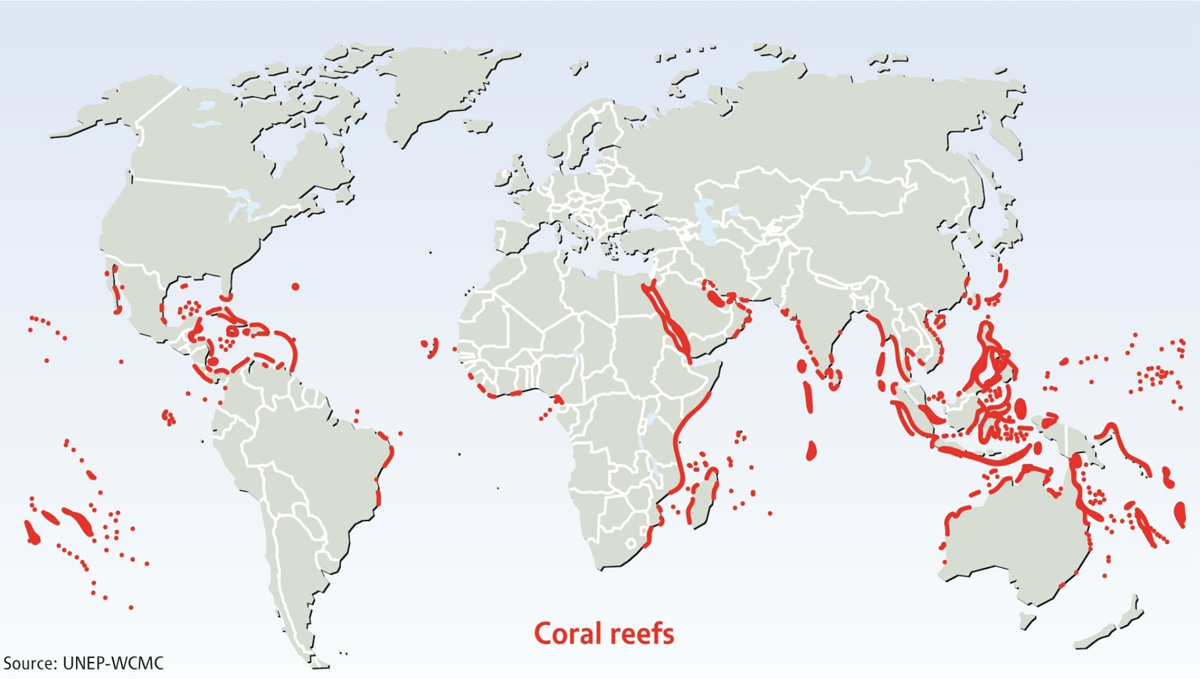 Coral reefs around the world. Photo courtesy of UNEP-WCMC