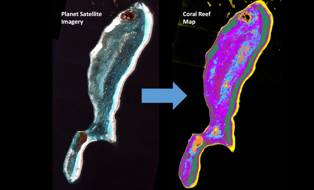 Planet imagery allows for mapping of shallow coral reefs, such as on Lighthouse Reef Atoll in Belize. Photo courtesy of Planet Inc.