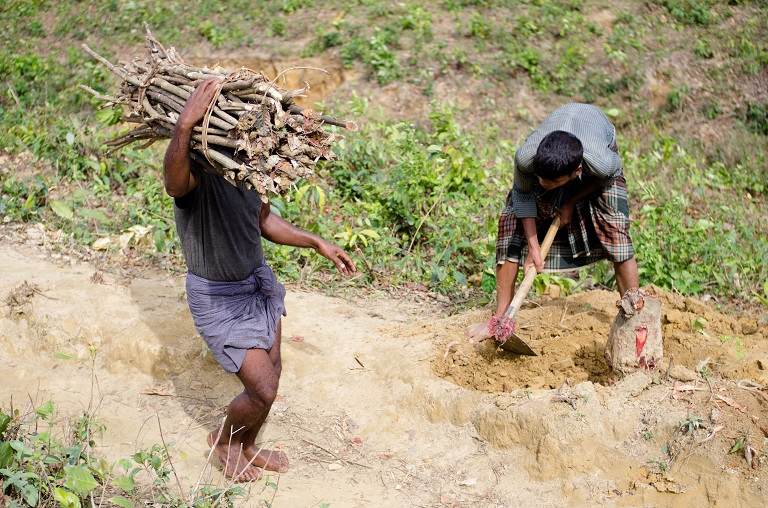 A Rohingya boy chopping wood from tree stump he freed from soil near Kutupalong-Balukhali refugee camp on Bangladesh. Photo by Kaamil Ahmed/Mongabay.