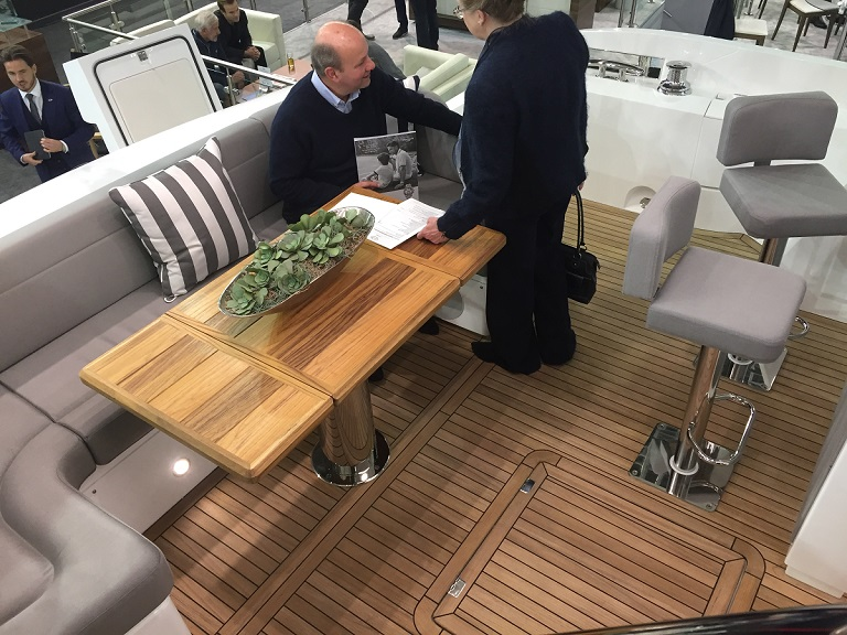 Teak decking on a luxury yacht at the London Boat Show, January 2018. Photo by Sophie Cohen/Mongabay.