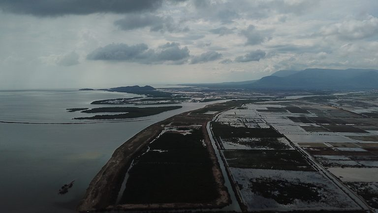 Looking west from above Trapeang Sangke inlet, Kampot Bay is set to be frequented by cargo ships, passenger ferries and oil tankers in the coming years. Photo courtesy of SUP Asia.