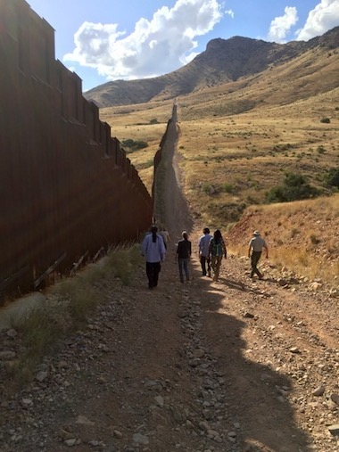 Border wall near Naco, Arizona, not far from the Rancho Los Fresnos wildlife reserve in Sonora, Mexico. Photo by Gerardo Carreón-Arroyo.