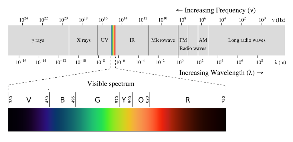 Visible light makes up a small portion of the electromagnetic spectrum. Hyperspectral sensors detect energy from wavelengths across a broader range of the spectrum,