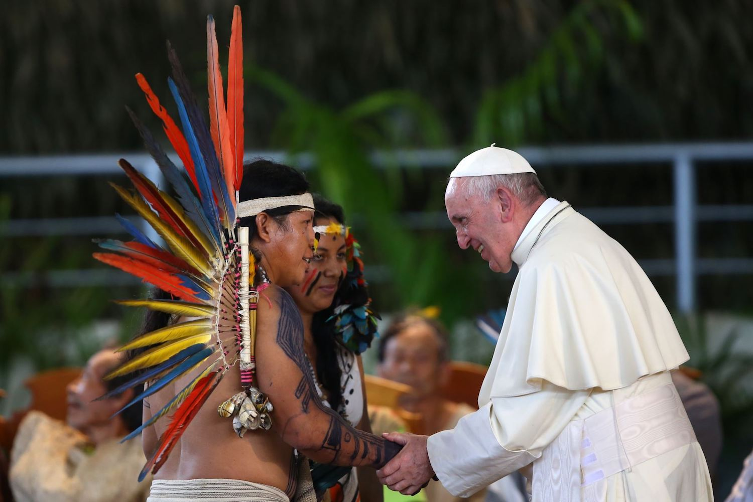 In his message in Puerto Maldonado, Pope Francis discussed the depredation of the Amazon and the vulnerability of Indigenous communities. Photo by Carlos Lezama for Andina.